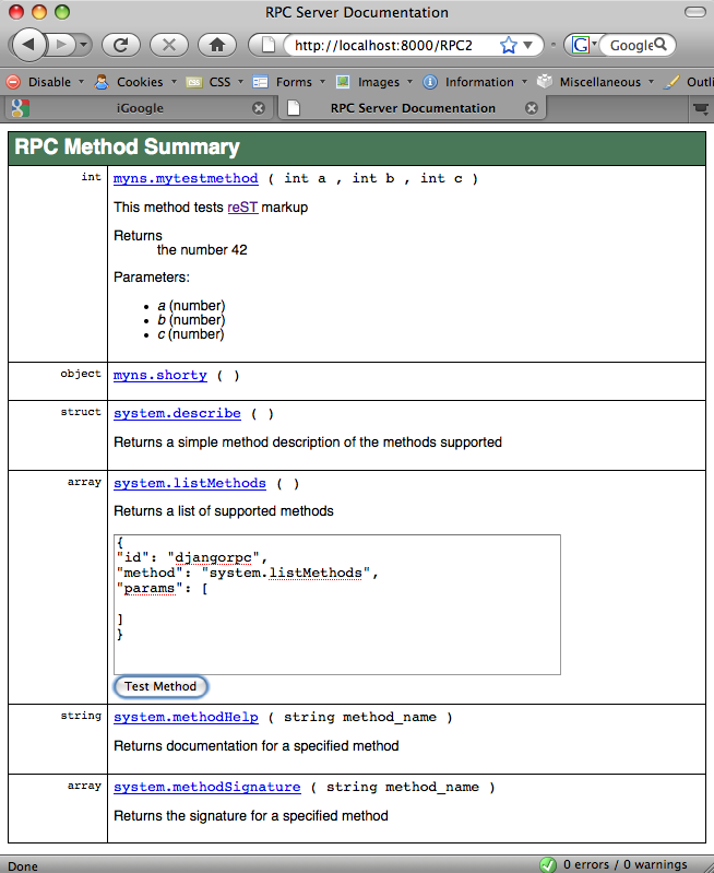 RPC4Django Method Summary